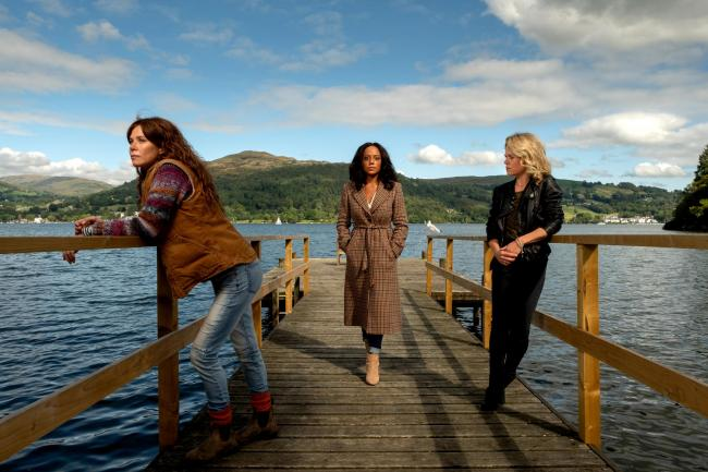 Anna Friel as Lisa Kallisto, Rosalind Eleazar as Kate Riverty and Sinead Keenan as Roz Toovey