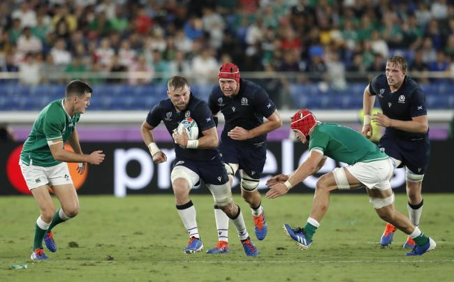 John Barclay in action during the Rugby World Cup 2019 Group A game between Ireland and Scotland at International Stadium Yokoham