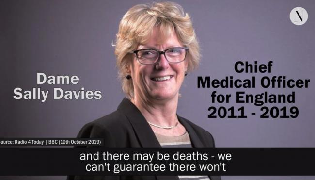 Chief Medical Officer Sally Davies contradicted the minister responsible for No-Deal Brexit planning