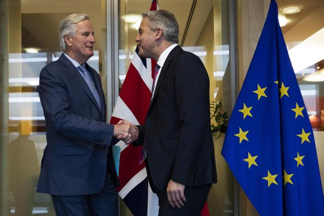 EU negotiator Michel Barnier, left, and UK Brexit Secretary Stephen Barclay have held 'intense' late-night talks