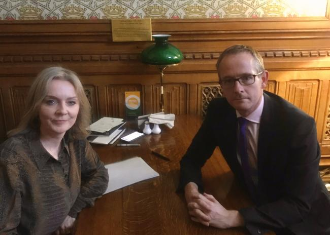 Scottish Tory MP and International Trade Secretary Liz Truss sat down for vital trade talks with salt and pepper shakers on hand