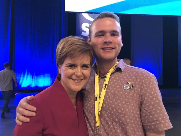 The National: First Minister Nicola Sturgeon with Steven Campbell
