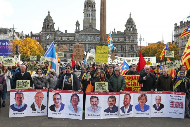 Protestors in support of Catalan political prisoners demonstrate in Glasgow