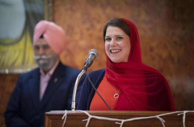 Liberal Democrat leader Jo Swinson during a visit to the Gurdwara Singh Sabha Temple in Glasgow