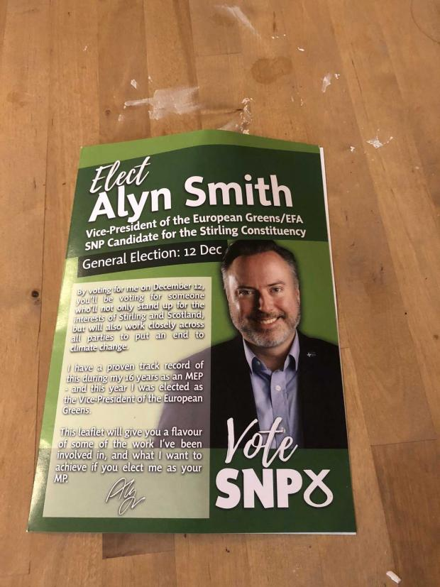 "The National: The ""green"" leaflet to elect SNP candidate Alyn Smith"