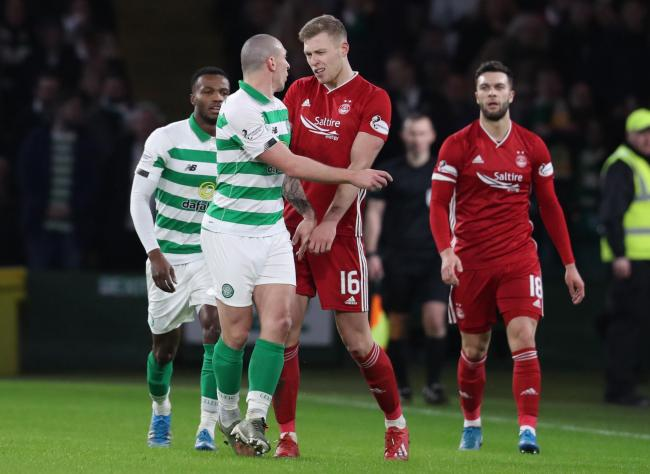 Sam Cosgrove was at the centre of a second-half storm as he was sent off for a challenge on Celtic's Kristoffer Ajer.