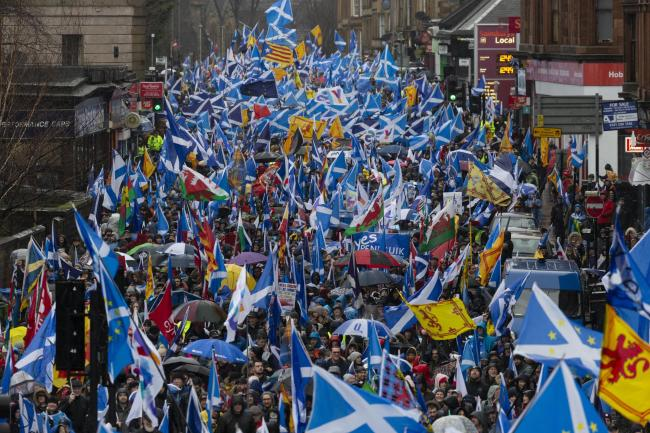 Saltires flooding the streets are a common sight at AUOB marches