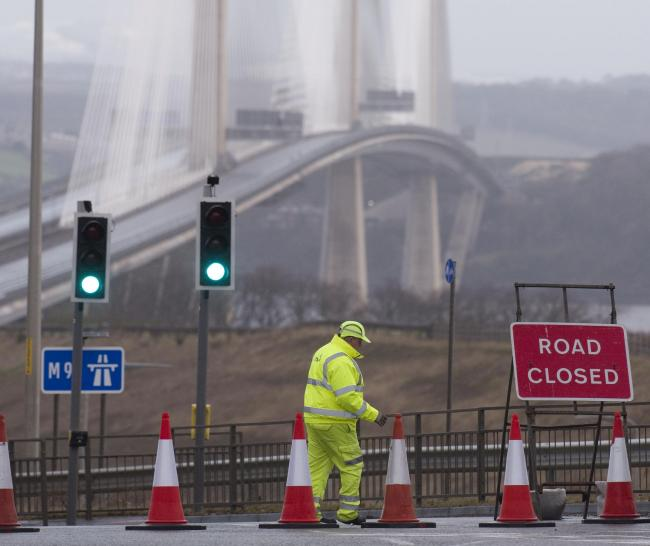 The Queensferry Crossing closed due to ice falling from its cables. Photograph: Gordon Terris