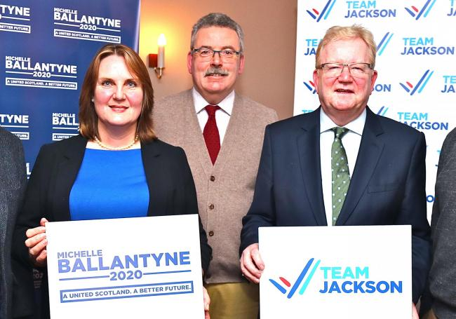Michelle Ballantyne and Jackson Carlaw at the Moffat hustings with David Mundell, Charles Milroy and Oliver Mundell