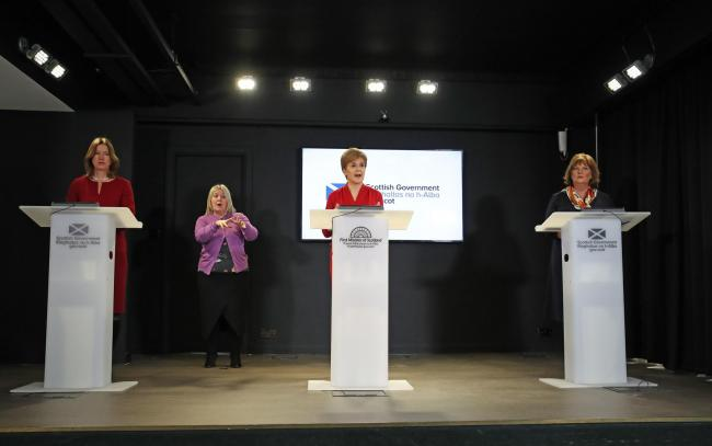 From left to right: Catherine Calderwood, Nicola Sturgeon and Fiona Hyslop
