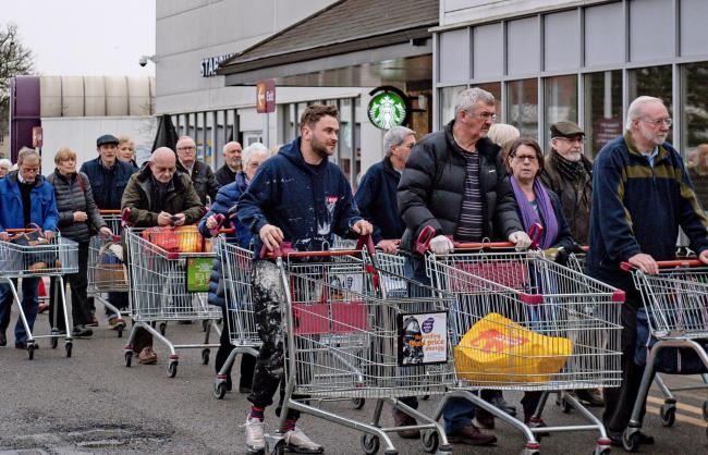 Some places in the UK have seen queues for the supermarket, with people stocking up on food and essentials – but ministers have urged the public not to panic buy