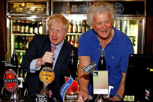 Boris Johnson with Wetherspoons founder Tim Martin