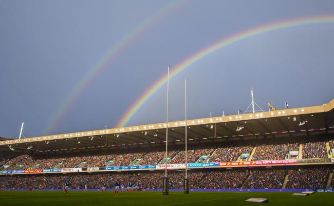 A rainbow appears over Murrayfield during Scotland's Six Nations clash with France