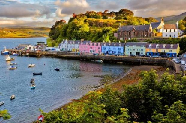 Portree, Skye - but activists say locals are being driven out by housing pressures in the UK's Celtic language-speaking areas
