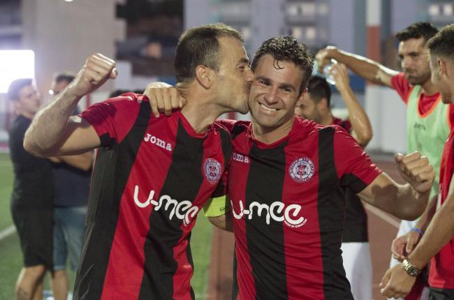 Lincoln Red Imps' Lee Casciaro (right) and Roy Chipolina celebrate after beating Celtic