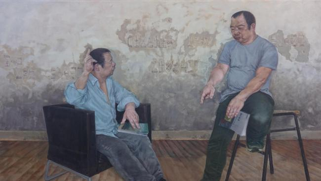 Li Huang's portrait shows an imagined conversation between him and his late father