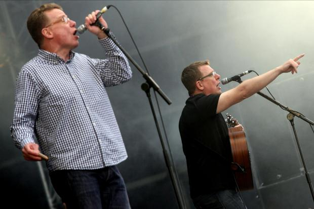 The Proclaimers provided the soundtrack as primary pupils danced in their playground on Monday