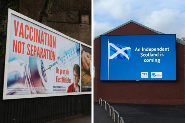 Left: Inverclyde Yes to the United Kingdom/Scotland Matters's anti-independence billboard. Right: One of Yes Inverclyde's digital ads