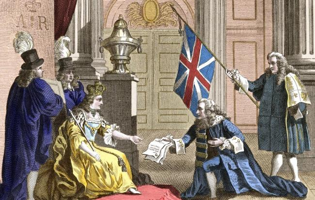 James Douglas presents the Act of Union to Queen Anne in 1707