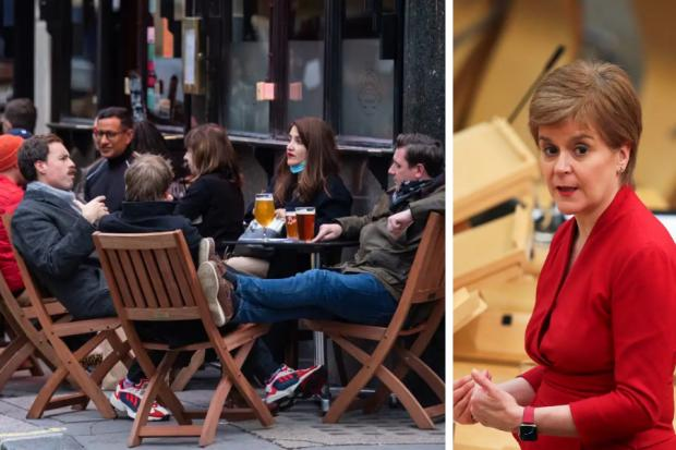 Drinking outside of venues would be allowed if Scotland were to return to level 2 on April 26