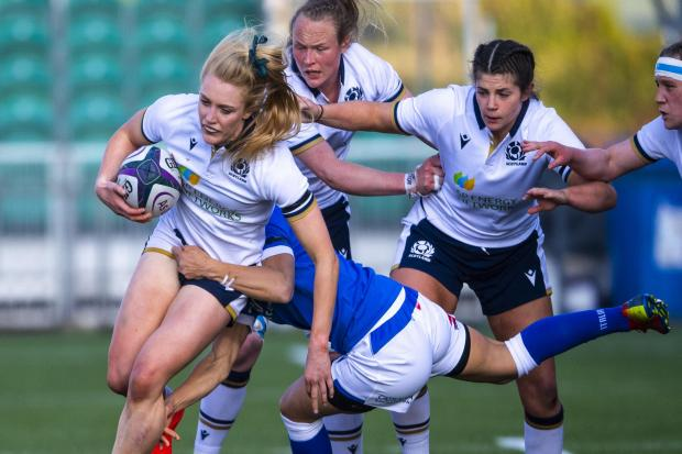 Scotland's Megan Gaffney is tackled by Italy's Michela Sillari at Scotstoun
