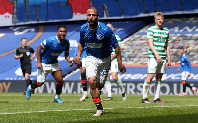Kemar Roofe of Rangers celebrates after scoring their team's third goal  during the Ladbrokes Scottish Premiership match between Rangers and Celtic at Ibrox