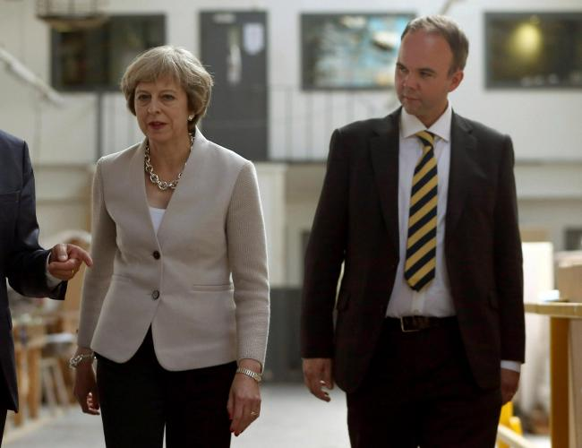 Theresa May, left, with her chief of staff Gavin Barwell