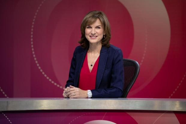 Fiona Bruce hosts the weekly political debate programme