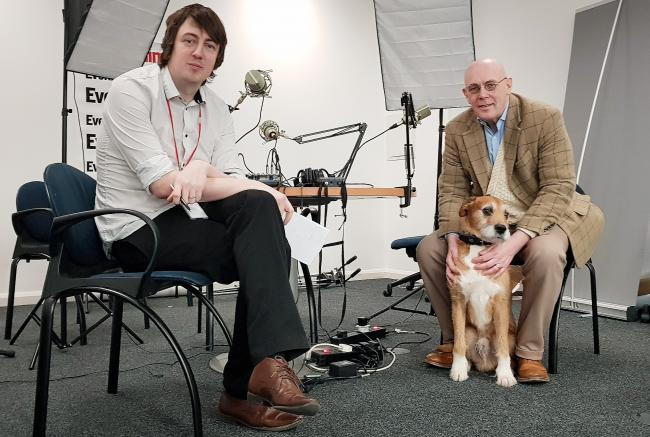 National editor Callum Baird with Paul Kavanagh and the Wee Ginger Dug