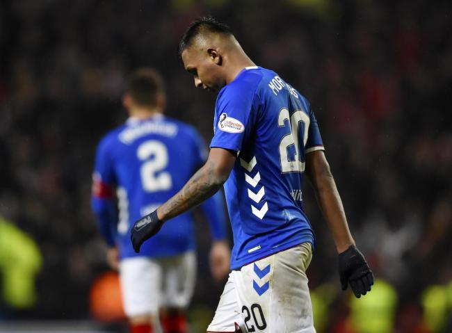 Rangers striker Alfredo Morelos looks dejected at the final whistle.