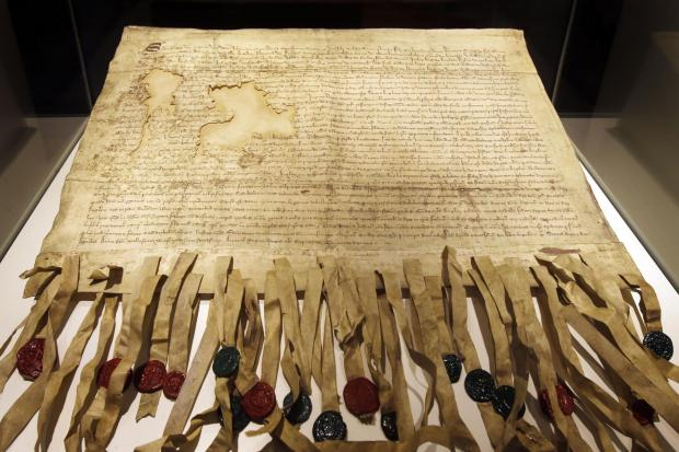 A copy of the Declaration of Arbroath at Arbroath Abbey in Scotland