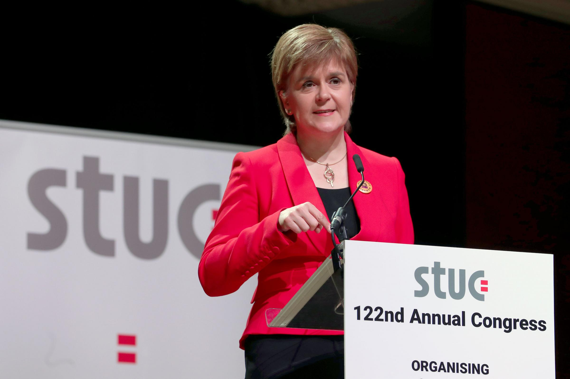 Nicola Sturgeon was speaking at the STUC conference  in Dundee