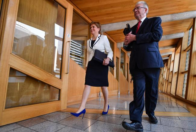 First Minister Nicola Sturgeon with Michael Russell. Photograph: Stewart Attwood