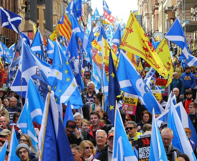 Those faced with aggression on marches for independence are advised to respond with a wave and a smile. Photograph: Colin Mearns