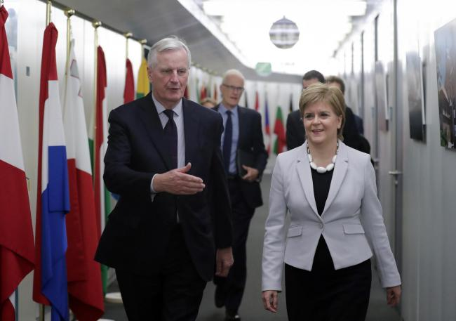 First Minister Nicola Sturgeon with EU chief Brexit negotiator Michel Barnier in Brussels